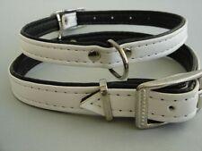 HALSBAND - Hundehalsband, Halsumfang 29-36cm/15mm,  EKO-Leder, Weiss/Schwarz