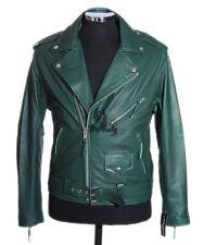 Men's BRANDO SLIM FIT Green Biker Style Motorcycle Lambskin Leather Jacket
