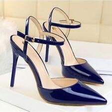 zapatos de salón sandalias talón 10 cm elegantes tacón de aguja azul como piel