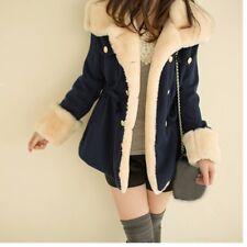 Women Faux Sheepskin Coat Jacket Fleece Lining Lapel Mid Length Button Down Slim