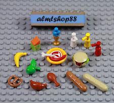 LEGO - 16 pcs Lot Picnic BBQ Drumstick Bread Pretzel Hamburger Minifigure Food