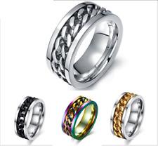 Fashion Korean style 3 colors 8mm Titanium Steel Chain Design COOL Mens ring