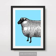 OVINI art print poster Animali Fattoria Campagna Lana POP Decor Illustrazione