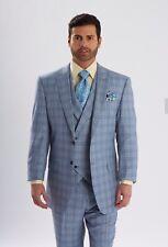 Men's Steven Land 3 PC Suit Windowpane Vested light Blue/Grey Riley SL77-260