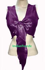 Purple Satin Belly Dance Tie Top Sleeve Less Wrap Choli Gypsy Haut Danse Blouse