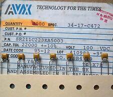 AVX SR211C223K 0.022uF 100V X7R 10% 5.08mm Multilayer Ceramic Capacitors