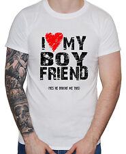 """""""i LOVE CUORE MIO FIDANZATO"""" Uomini Uomo Ragazzi T-Shirt LGBT Gay Pride regalo di San Valentino"""