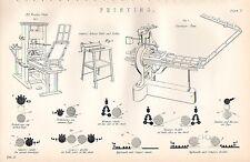 Impression imprimé 1880 ~ ~ cowper presse de bois de tampons tableau Stanhope presse KOENIG