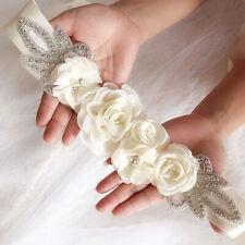Women Lady Elegant Beaded Waistband Bridal Silk Ribbon Wedding Waist Dress Belt