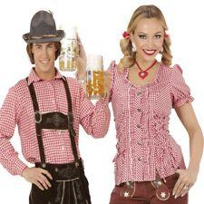 Damen Trachen Bluse, Herren Trachten Hemd rot/weiß kariert Oktoberfest AUSWAHL