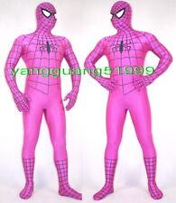 Rose Red Lycra Spiderman Hero Suit Catsuit Costumes Unisex Spider-Man Suit F175