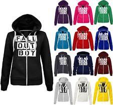 Womens Fall Out Boy Printed Hoodie Ladies Zipped Winter Fleece Hooded Jacket