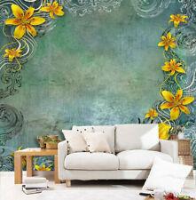 3D Yellow Flower Rattan Art 209 Wall Paper Wall Print Decal Wall AJ WALLPAPER CA