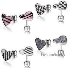 Stainless Steel Heart Shape Women's Girl's Charm Shining Ear Studs Earrings Gift