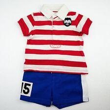 NWT Ralph Lauren Baby Boys Striped Cotton Polo Shirt & Short Set $55-$65