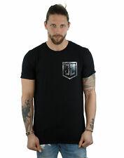DC Comics Men's Justice League Movie Shield Faux Pocket T-Shirt