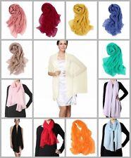 Prettystern Damen langer 100% Seiden-Schal uni-Farbe Stola Schwarz Weiß Grün Rot