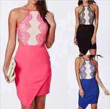 Women Summer Dresses Eyelash Lace Asymmetrical Hem Bellyband Bodycon Mini Dress
