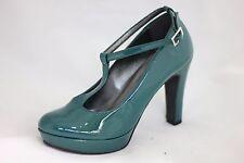 Decoltè scarpa donna pelle vernice verde tacco plateau ANNO ZERO 36 37 38 39