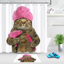 Cute Cats Bath Animals Print Waterproof Fabric Shower Curtain Set Bathroom Liner