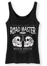 Road Master womens ladies Tank Top Vest SCREENPRINTED retro vintage skull biker