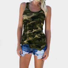 Army Camo Tarnung Tank Tops Ärmellos O-Neck Slim Freizeithemd Frauen Sexy