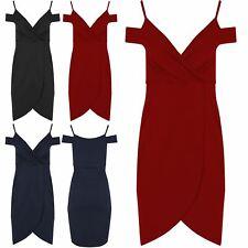 Womens Ladies Cold Cut Shoulder V-Neck Wrap Over Asymmetric Bodycon Midi Dress