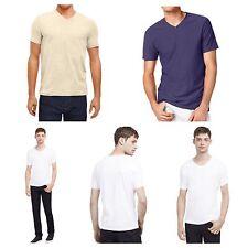 Mens V-Neck T-Shirt  KENNETH COLE Slim Fit T-Shirts  Fashion  Casual Tee White