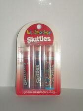 3 Lip Smacker Bonne Bell Skittles RASPBERRY MANGO TANGELO STRAWBERRY .42 oz New