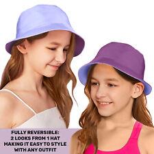 UPF 50+ Protection Kids Girls Cotton Reversible Sun Summer Bucket Sun Hat Cap