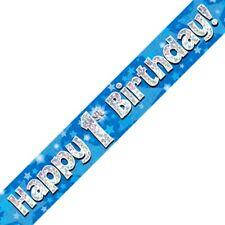 Azul Happy 1º Cumpleaños METALIZADO Letrero De Fiesta Decoración Estrellas
