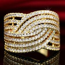 9K GOLD GF WOMENS LAB DIAMONDS CROSS KISS KNOT COCKTAIL WEDDING DRESS BAND RING