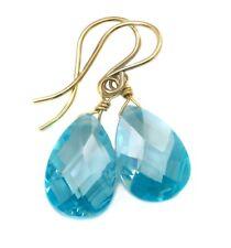 14k Gold Cubic Zirconia Earrings Sim Blue Topaz CZ  Sterling Faceted Dangle Drop