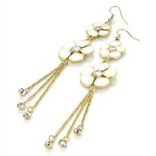 White Flower Drop Earrings Enamel & Gold Colour Chains