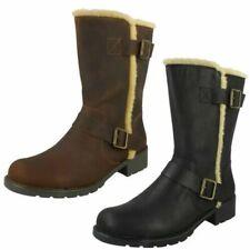 Ladies Clarks Furry Trim Chunky Heel Casual Leather Zip Ankle Boots Orinoco Art
