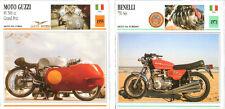 SCHEDA MOTO MOTORCYCLE CARD MOTO GUZZI 8V 500 CC GP 1955- BENELLI 750 SEI 1973