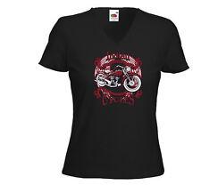 Biker Damen T-Shirt Indian Rot Oldschool Custom Tattoo V8