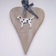 Shabby Chic Rústico Natural Corazón Colgante Con Perro Negro & manchada perro