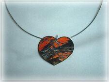 mossy oak breakup blaze orange real tree camo heart pendant choker necklace