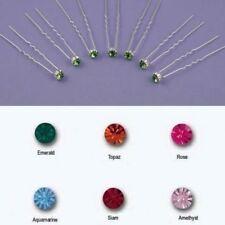 Conjunto de 6 Color Nupcial Cristal Oro O Plata Tono Hair Pins joyas Diapositivas