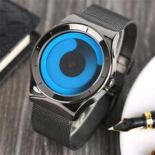Cool Stainless Steel Band Blue/Pink Dial Women Men Quartz Wrist Watch Gift