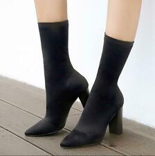 Womens Chunky High Heel Stretch bots Mid-calf Boots Socks boots Velvet sz
