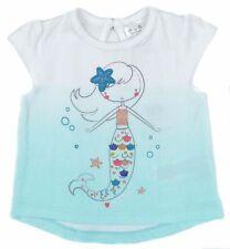 *New* Ex F&F Baby Girls 100% Cotton  Summer Mermaid Top T shirt 0-1 To 18-24mths