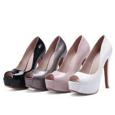 Women's Peep Toe Shoes Platform High Heel Faux Leather Sandals UK Plus Size S002