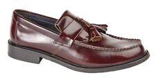 Roamers Chaussures En Cuir Classique À Gland Mocassins M900BD-Rouge Foncé