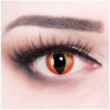 Crazy Fun rot gelbe Kontaktlinse mit Stärke Dragon Eye Behälter für Halloween