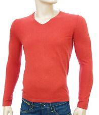 Pull col V orange rouille HARRIS WILSON homme coton laine SALAMANDRE taille S