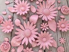 Edible Pink Roses Daisies Sunflowers Set Wedding Flowers Sugar Paste fondant