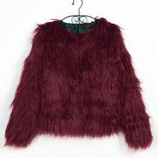 Winter Women's Shaggy Mongolian Faux Fur Open Front Short Jacket Fluffy Coat 1Pc
