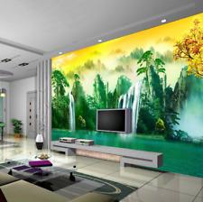 3D cascata albero Parete Murale Foto Carta da parati immagine sfondo muro stampa